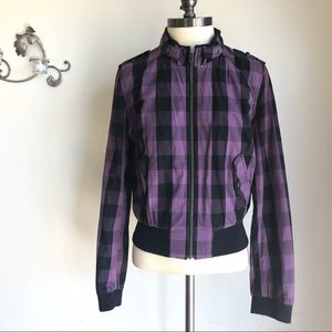 H&M Purple Black Checkered Cotton Bomber Jacket